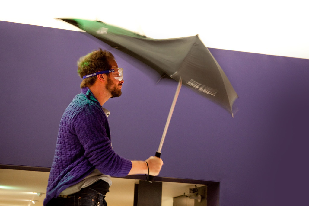 The Senz umbrella in testing